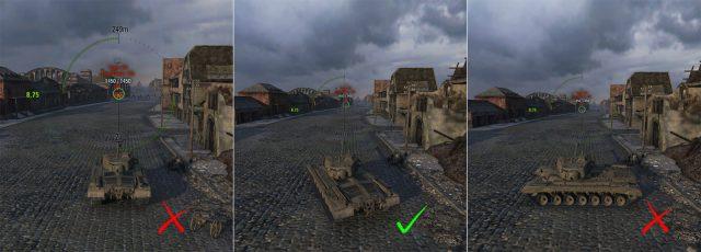 """Úhlování názorně. """"Bé"""" ist richtig :) Pozice vlevo jde jen sIS3 apodobnými tanky spředkem ve tvaru zobáku."""